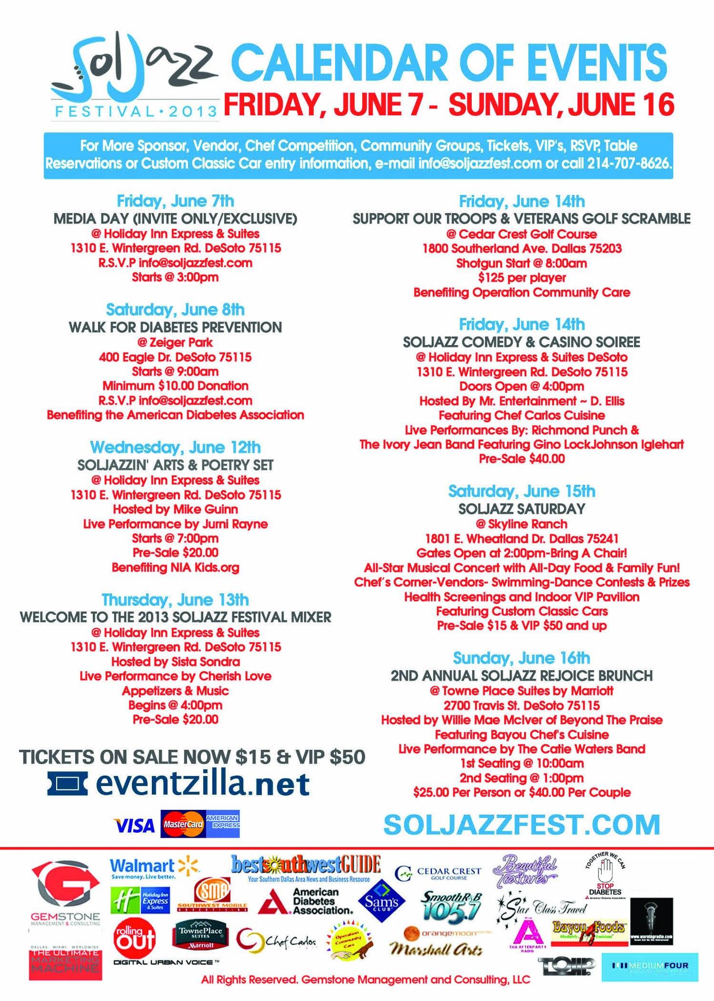 SolJazz Festival 2013 Calendar of Events