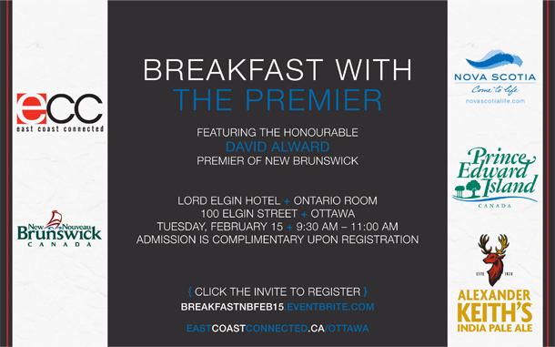 ECC Ottawa's Breakfast with the Premier of New Brunswick, Feb 15 at Lord Elgin Hotel