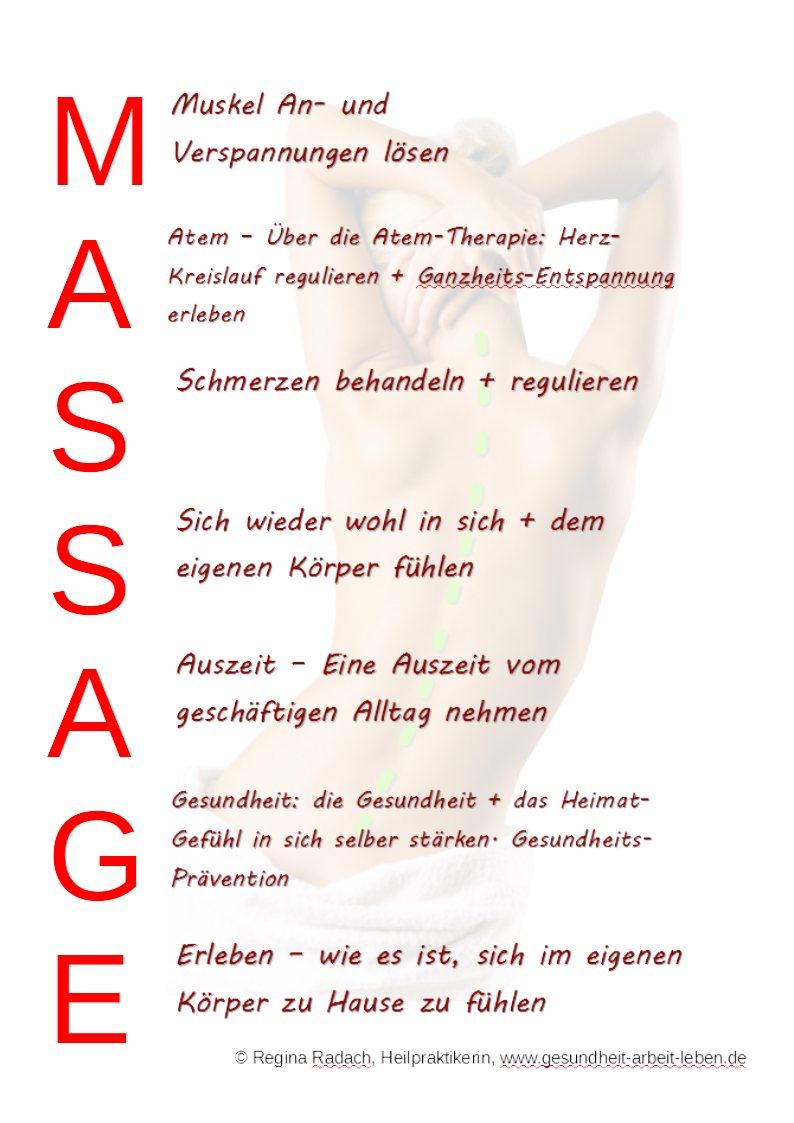 Die Wohltat von Massage