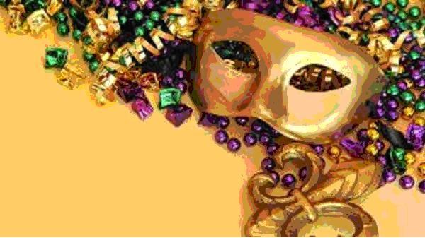 Festive Mardi Gras Mask & Beads