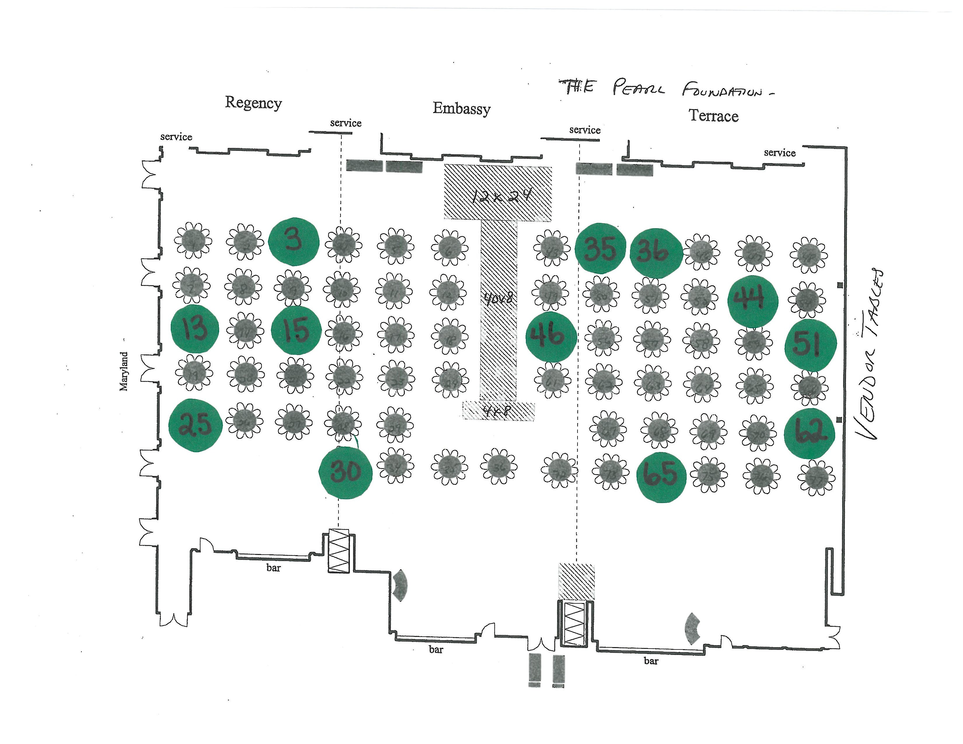 Green dots represent tables sold on eventbrite