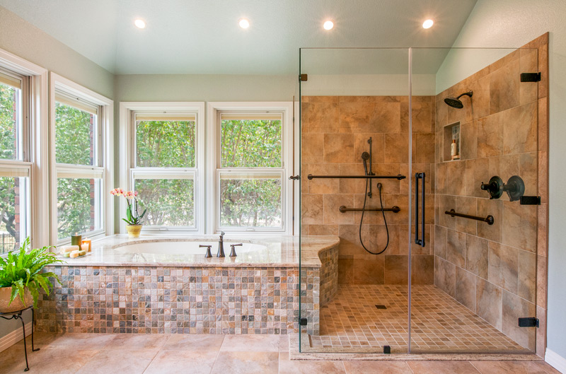A master bathroom that is optimized for ageing in place.