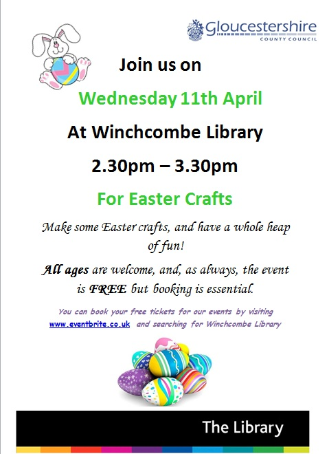 Poster advertising Winchcombe Library easter event 11.4.2018