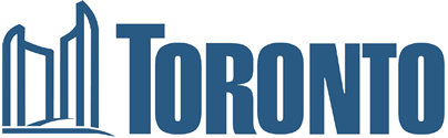 Logo of the city of Toronto - Blue outline of Toronto City Hall with the word Toronto in blue block letters