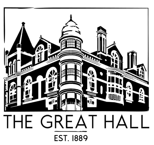 Black and white illustration of historic building with the words The Great Hall written underneath