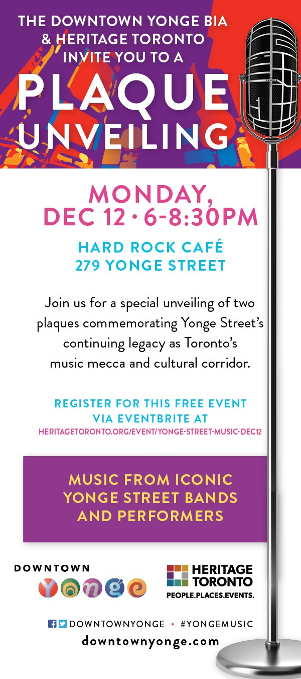 Invitation to Yonge Loves Music Plaque Unveilings