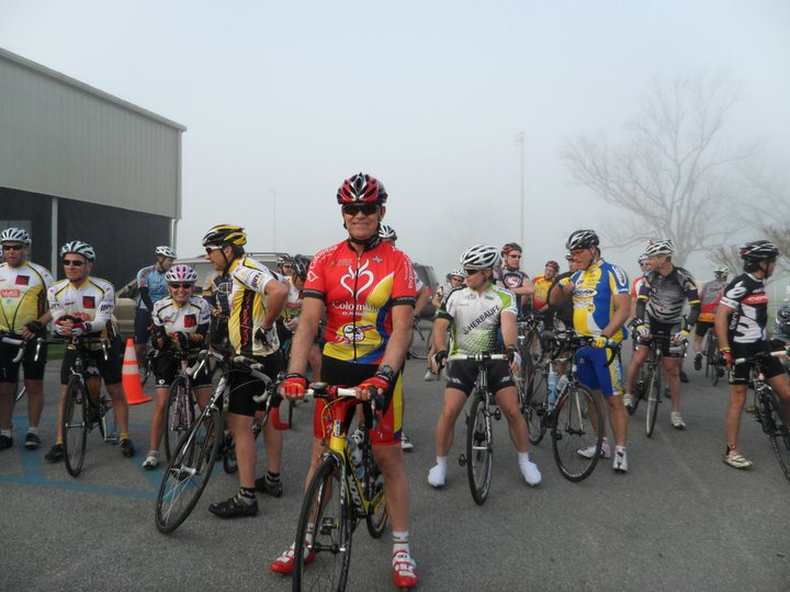 Jairo and cyclists prepare to start one of our past fundraiser rides.