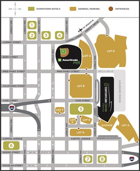 TD Ameritrade/Centurylink Center Parking Lots