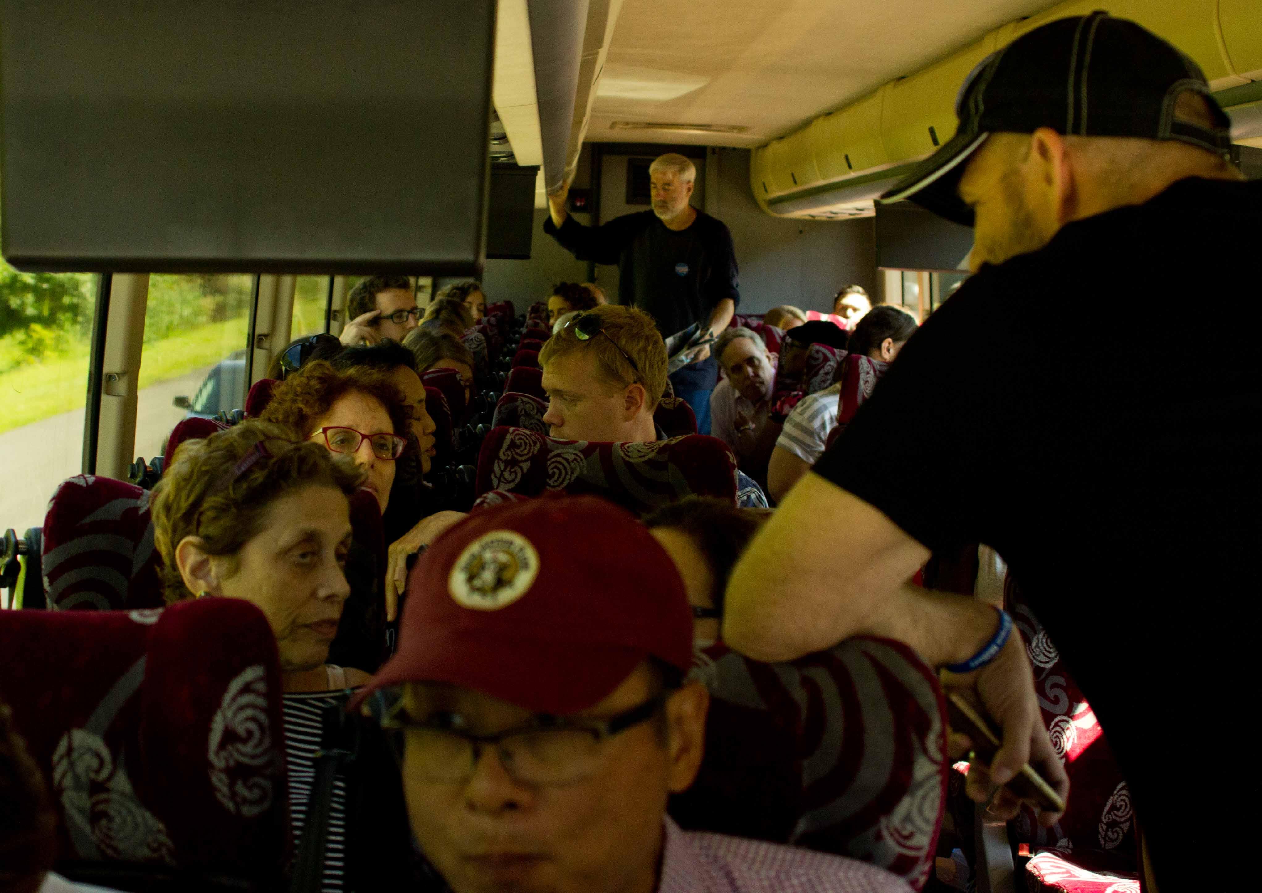 Volunteers on a bus