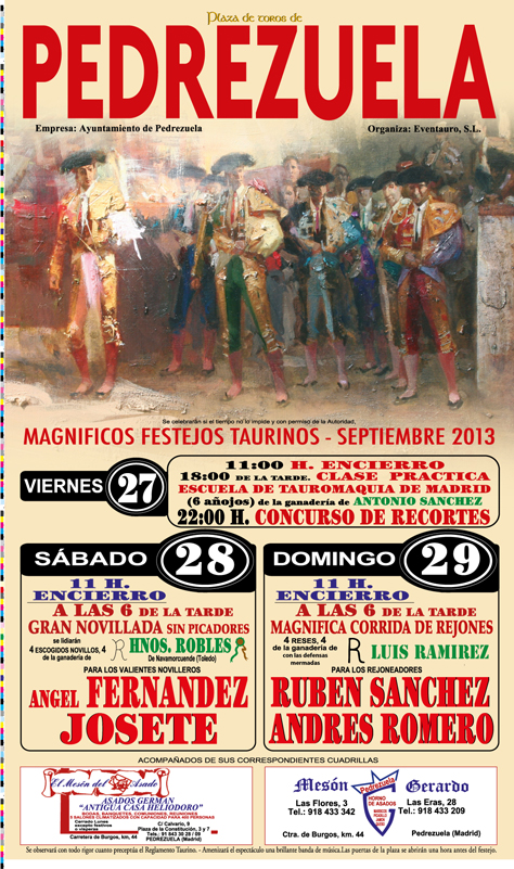 Cartel de la Feria Taurina Pedrezuela 2013