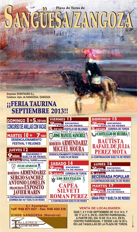 Cartel Feria Taurina de Sanguesa 2013