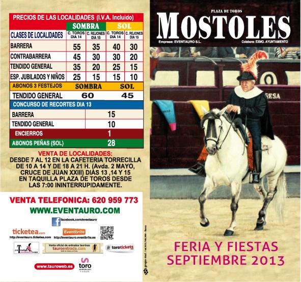 Listado de Precios entradas y abonos Feria Taurina de Mostoles 2013