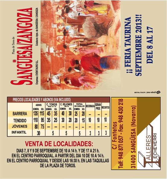 Listado de Precios Feria Taurina de Sanguesa