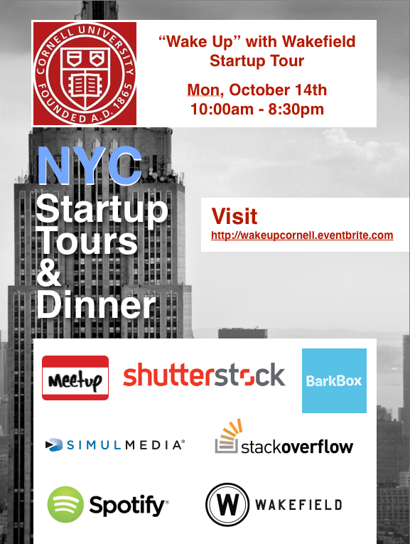 Cornell Wake Up With Wakefield Startup Tour Amp Dinner