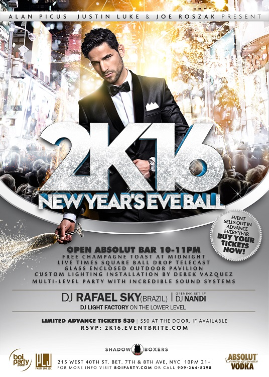 2k16 New Year's Eve Party Invite