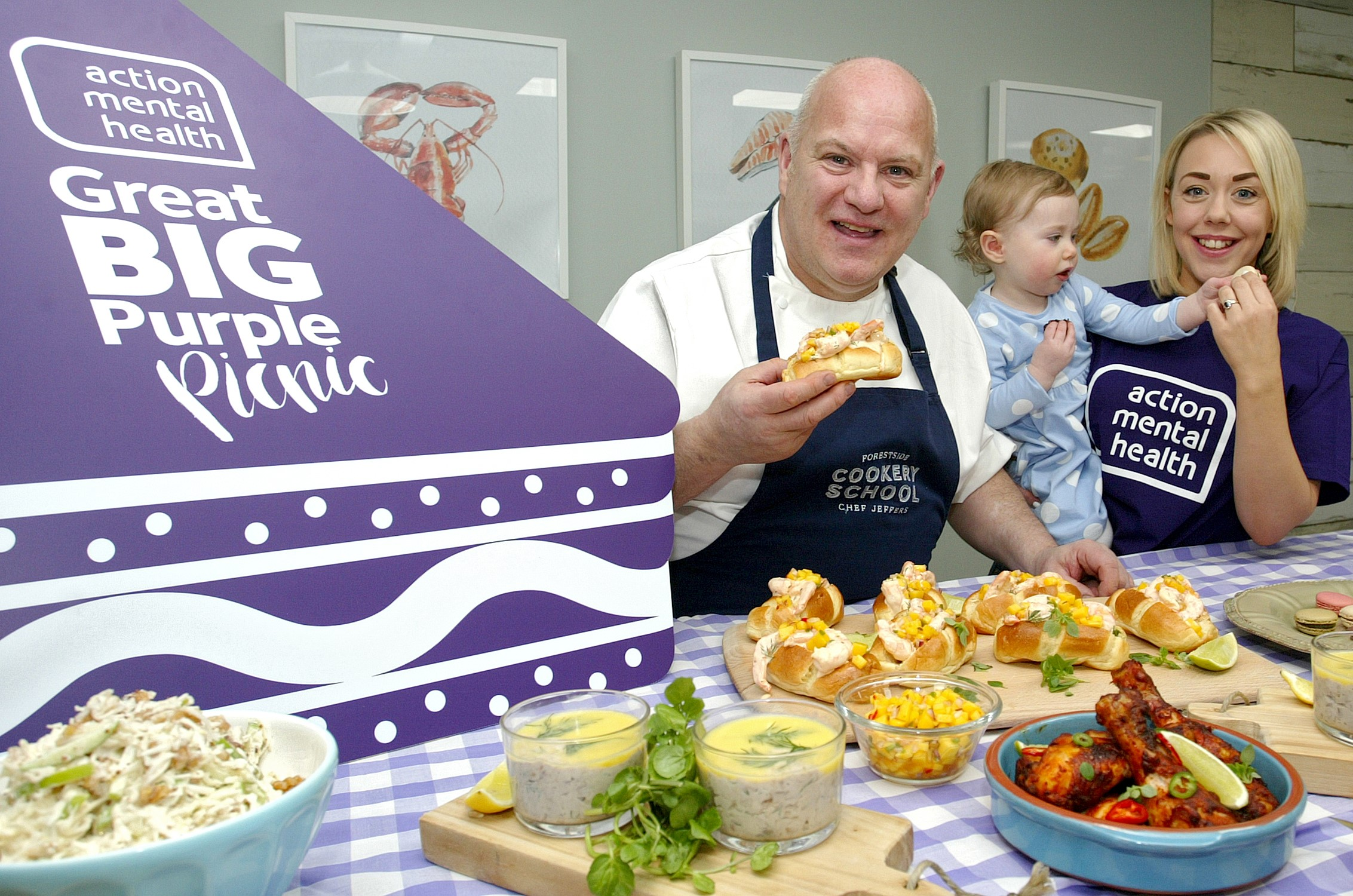 Pictured here with our families is Great Big Purple picnic Ambassador Chef Steven Jeffers of Forestside Cookery School