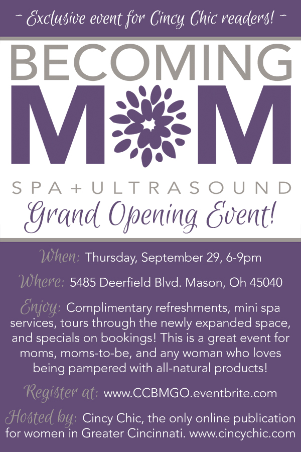 Becoming Mom Grand Opening for Cincy Chic Readers!
