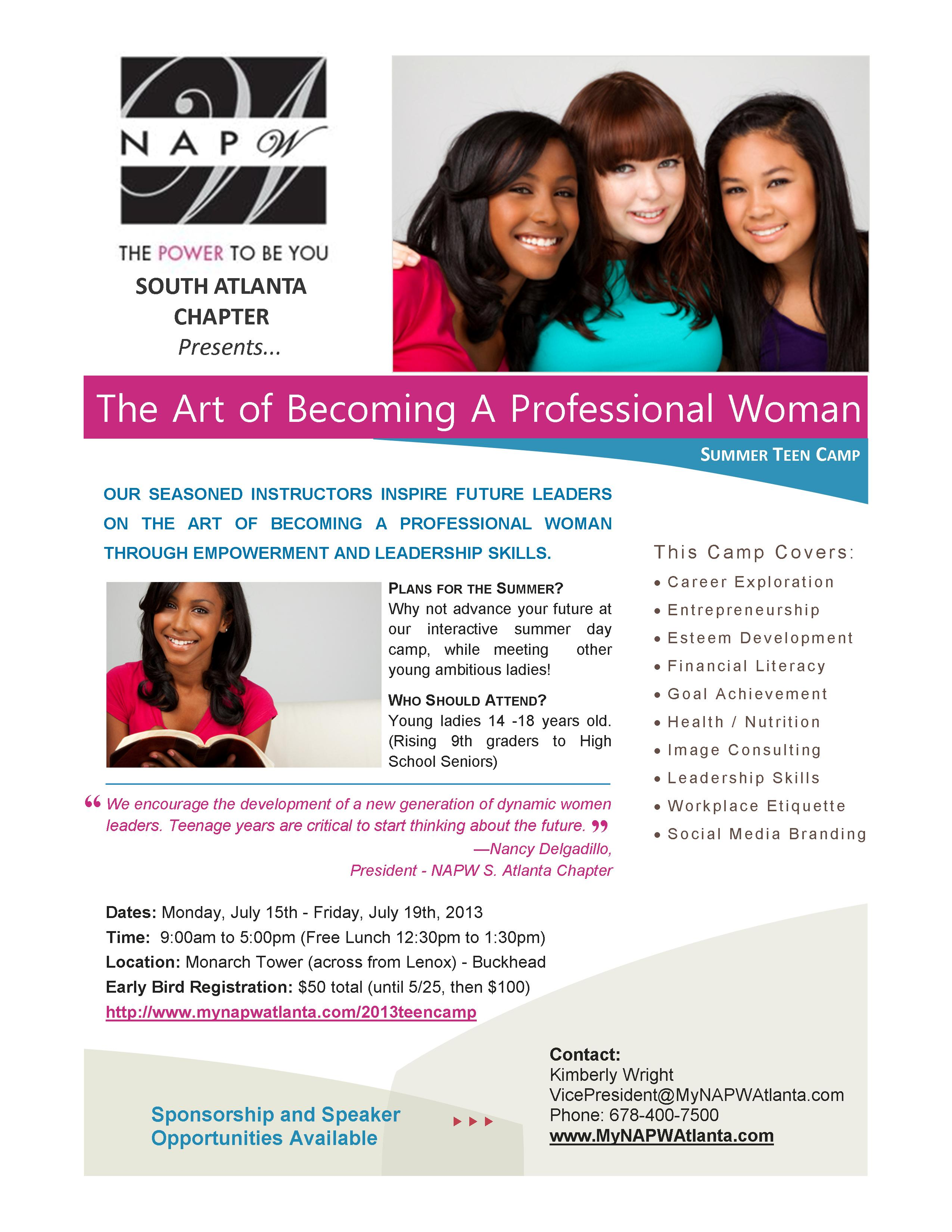 NAPW Atlanta Summer Teen Empowerment Camp