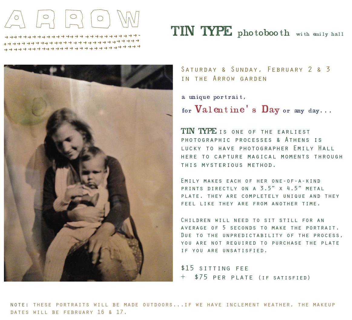 Tin Type Photo Booth with Emily Hall: a fundraiser for Arrow