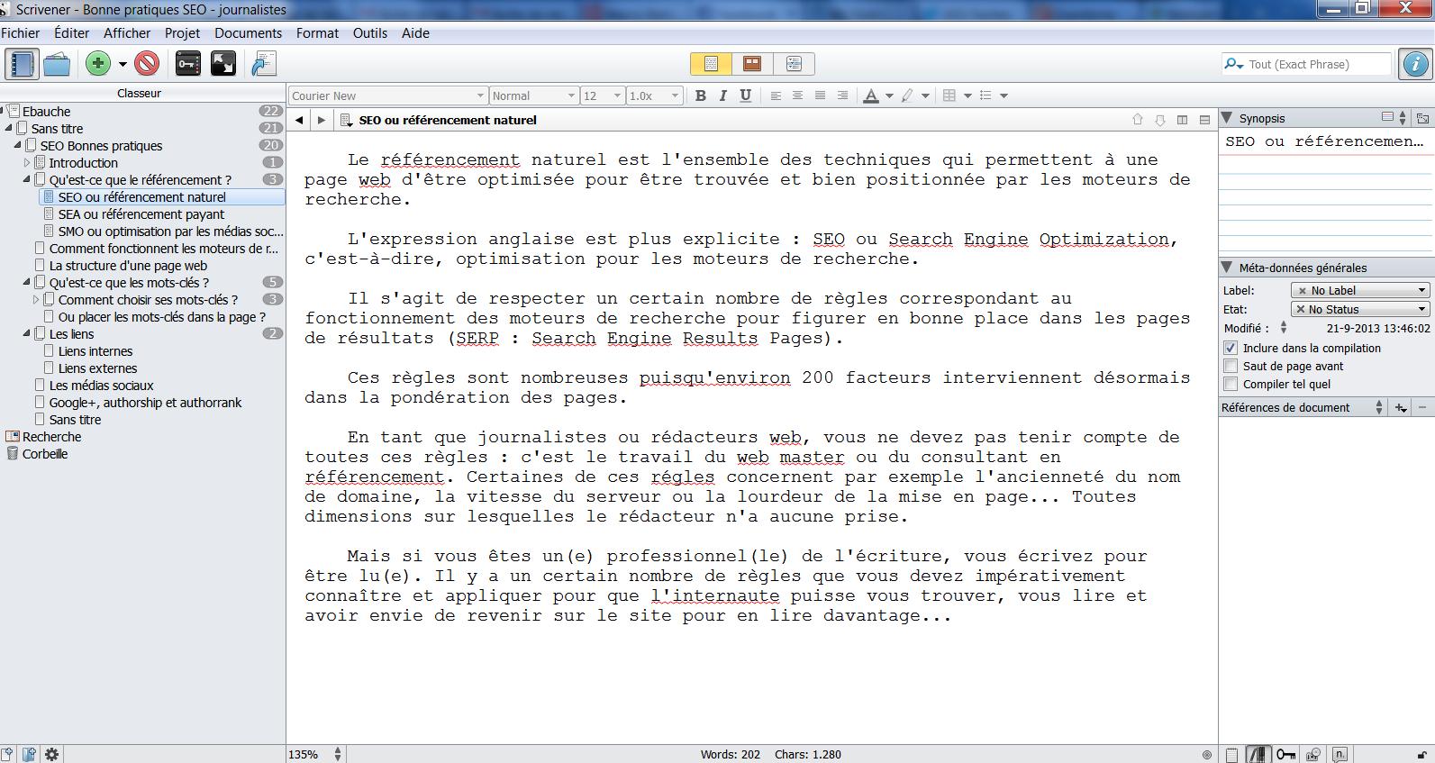 Capture d'écran de Scrivener