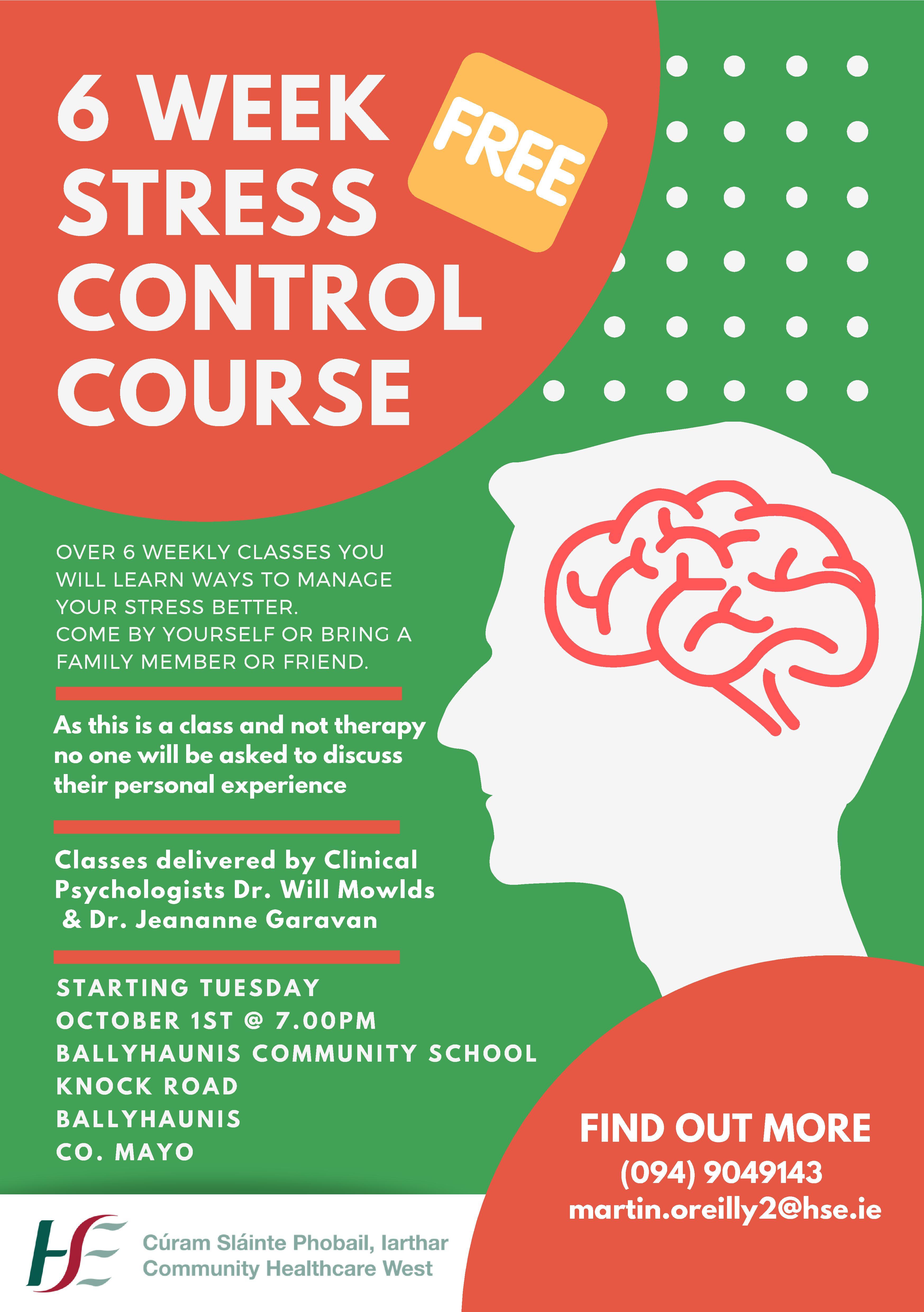 Poster for Ballyhaunis Stress control course