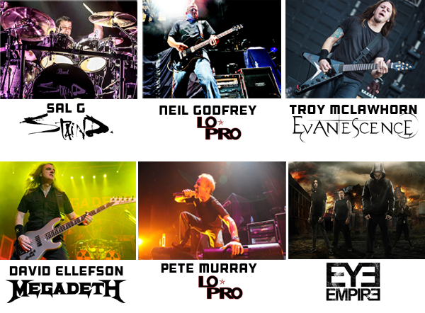 Dave Ellefson of Megadeath, Neil Godfrey of Lo-Pro, Troy McLawhorn of Evanescence, Sal G of Staind, Pete Murray of Lo-Pro