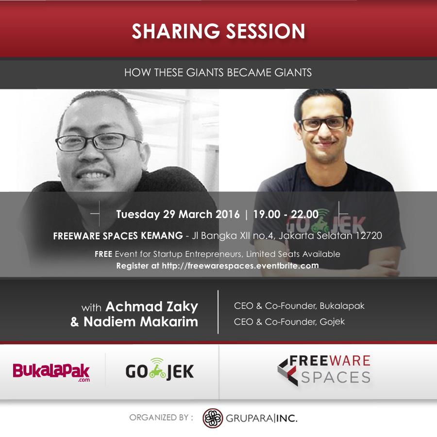 sharing session Ahmad Zaky & Nadiem Makarim March