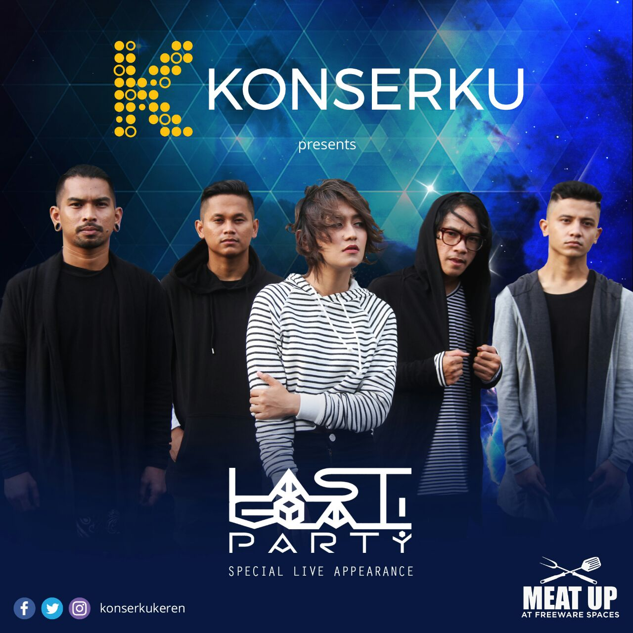 What's a party without awesome music?   @konserkukeren got you covered with a special live music performance by Last Goal Party! at the upcoming Meat Up event. Come and groove to their music!