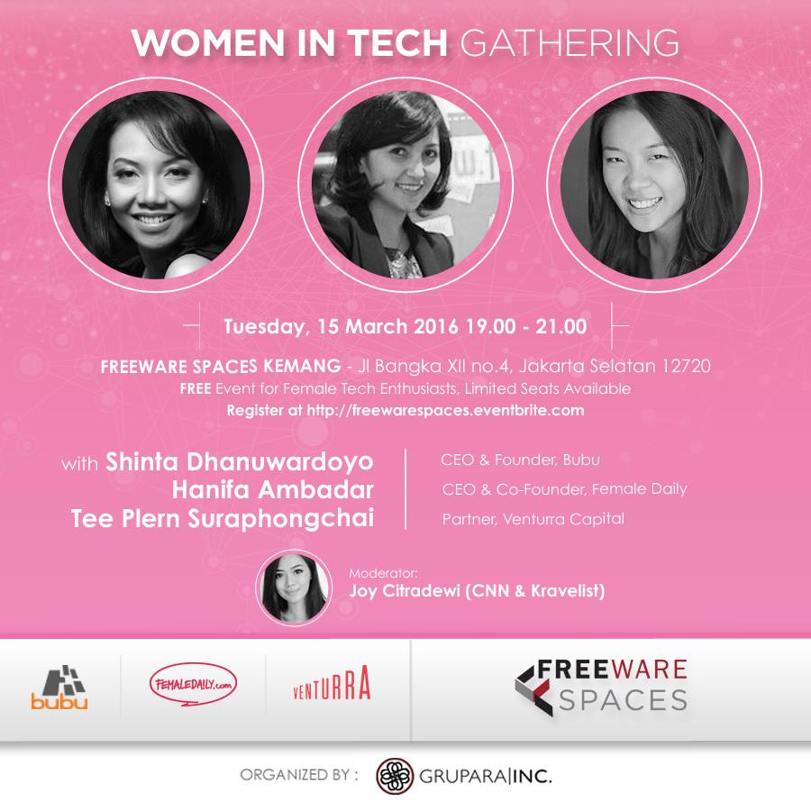 Shinta Dhanuwardoyo, Tee Plern Suraphongchai, Hanifa Ambadar, Joy Citradewi at Freeware Coworking Space Jakarta Indonesia Kemang Women In Tech