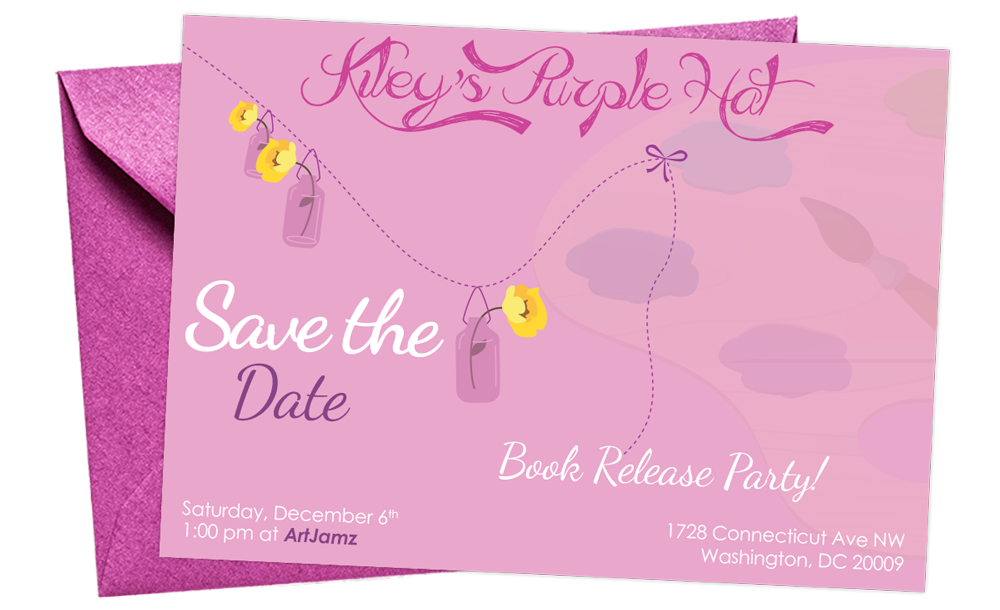 Save the date for Kiley's Purple Hat Book Release Party on December 6, 2014