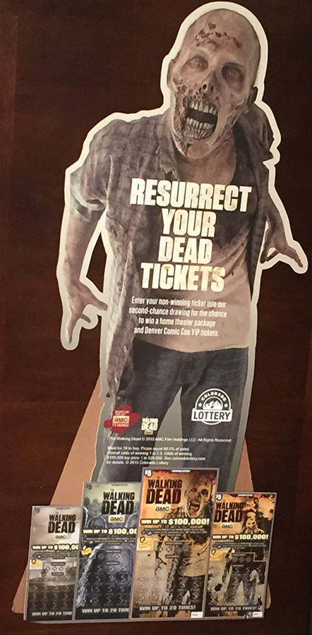 (1) Colorado Lottery Walking Dead cardboard cutout