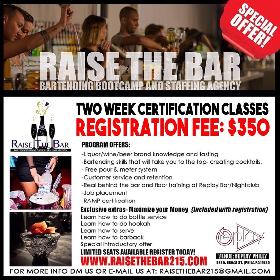 bartending school flyer