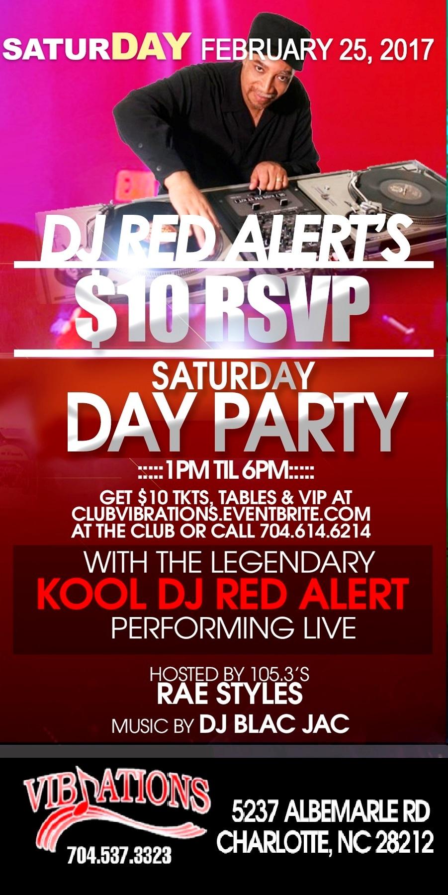 DJ RED ALERT's $10 RSVP SATURDAY DAY PARTY Tickets, Sat ...
