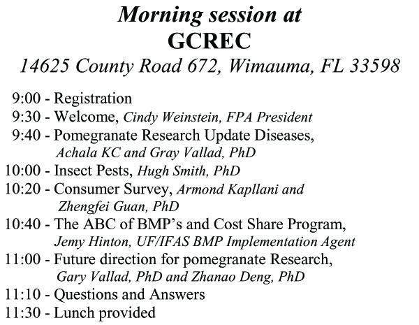 GCREC Morning Session Agenda