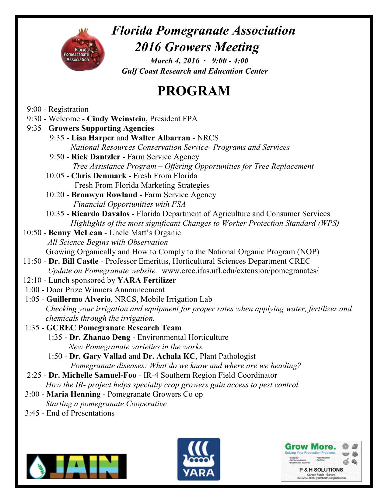Program for 2016 FPA Growers Meeting