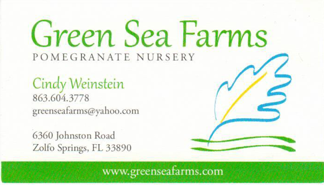 Green Sea Farms business card