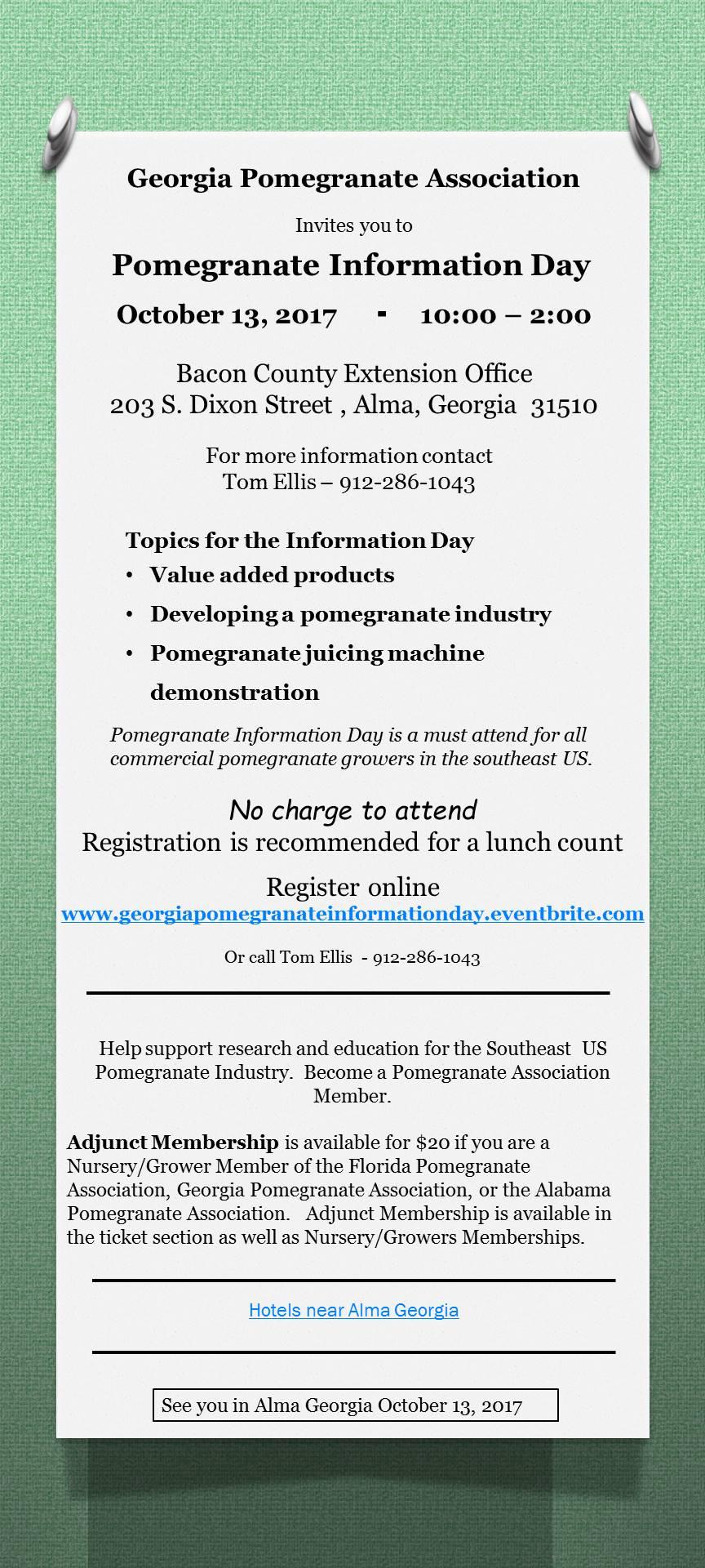 Registration information for Georgia Pomegranate Day October 13, 2017