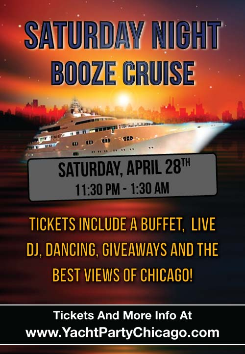 Saturday Night Booze Cruise aboard Mystic Blue - Tickets include a Buffet, Live DJ, Dancing, and the best views of Chicago!