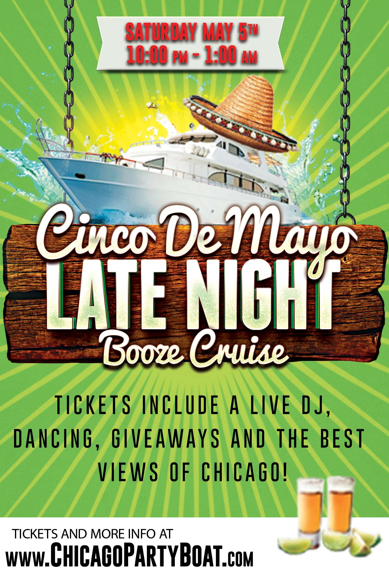Cinco de Mayo Late Night Booze Cruise - Tickets include a Live DJ, Dancing, Giveaways, and the best views of Chicago!