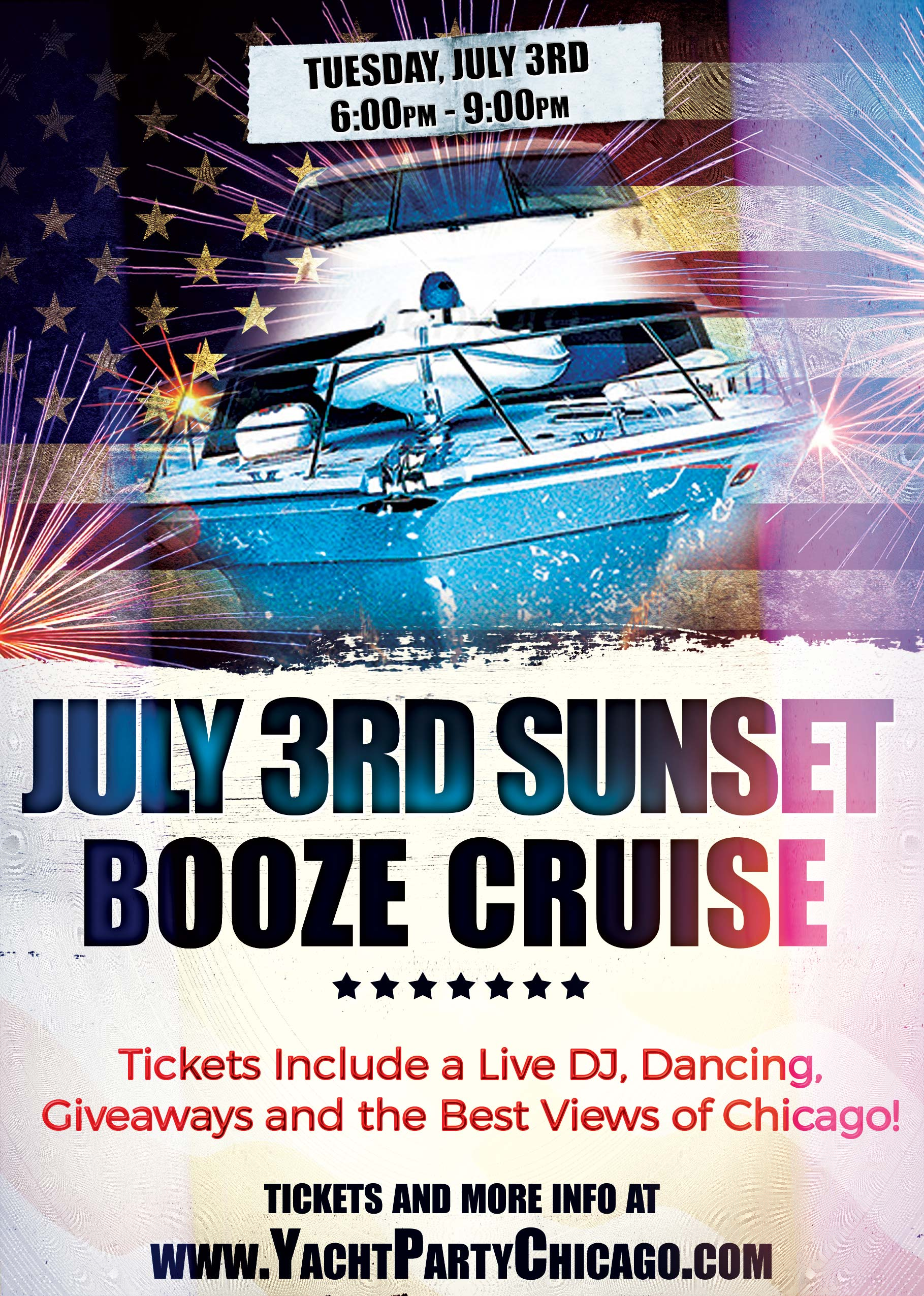 July 3rd Independence Day Party Booze Cruise - Tickets include a Live DJ, Dancing, Giveaways, and the best views of Chicago!