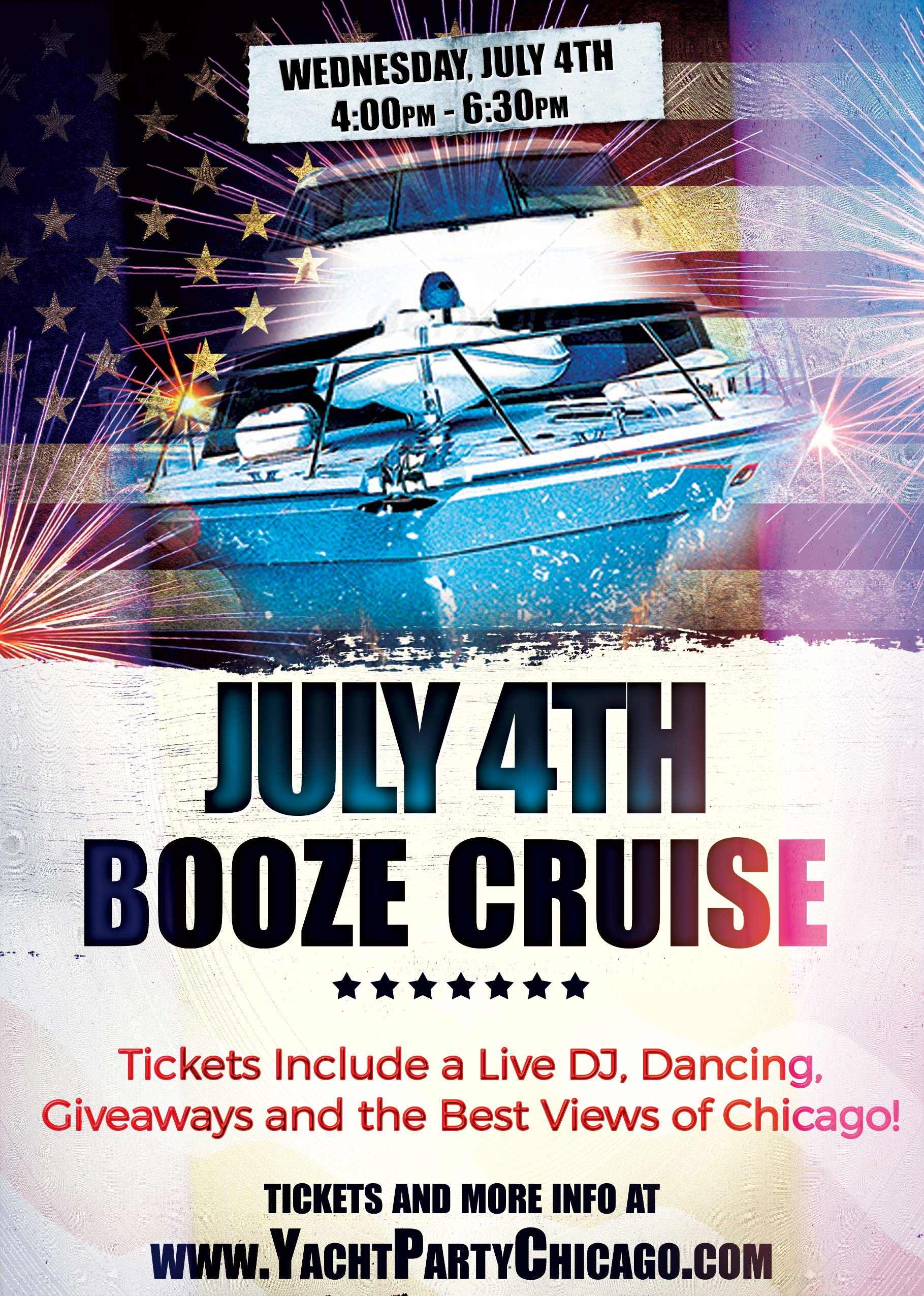 July 4th Independence Day Party Booze Cruise - Tickets include a Live DJ, Dancing, Giveaways, and the best views of Chicago!
