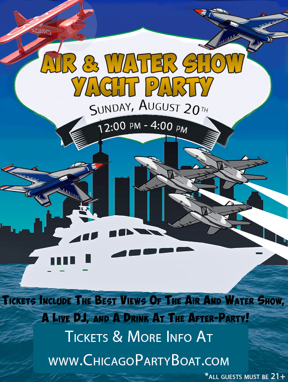 Come out on the Air & Water Show Yacht Party on Lake Michigan for the best views of all the high-flying fun! Tickets include a Live DJ, Dancing, and A Drink At The After-Party!