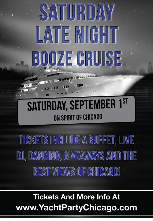 Come out on our four story luxury yacht for a cruise on Lake Michigan! Tickets include a Buffet, Live DJ, Dancing, and the best views of Chicago!