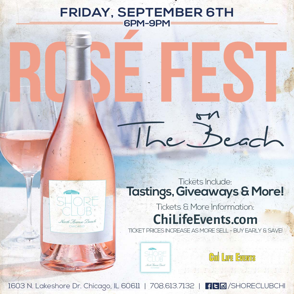 Rosé Fest on the Beach Party - Tickets include rosé tastings, giveaways & MORE! We will have a variety of different rosé wines available for sampling!