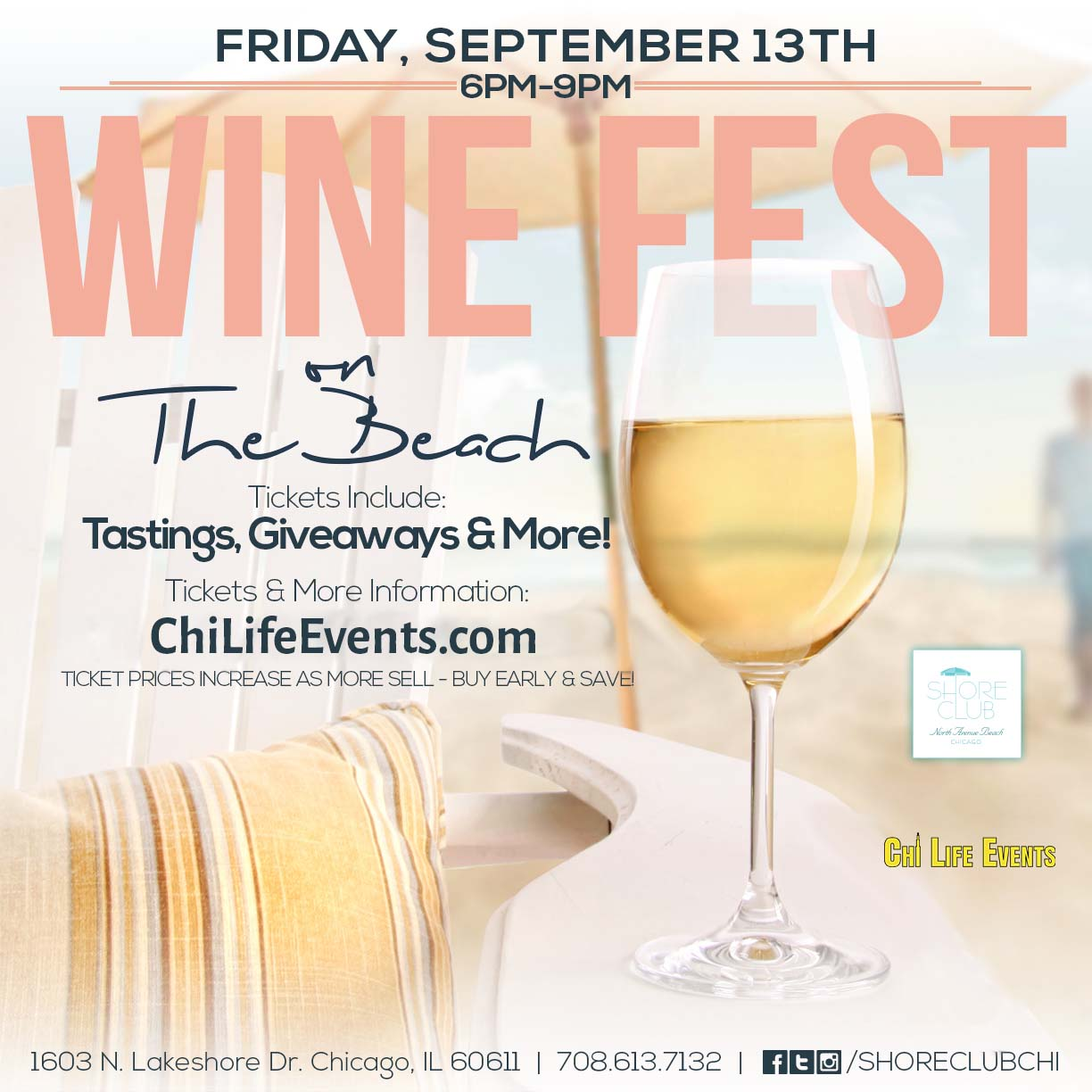 Wine Fest on North Avenue Beach Chicago - Tickets include wine tastings, giveaways & MORE! We will have a variety of different wines from all over the world available for sampling!