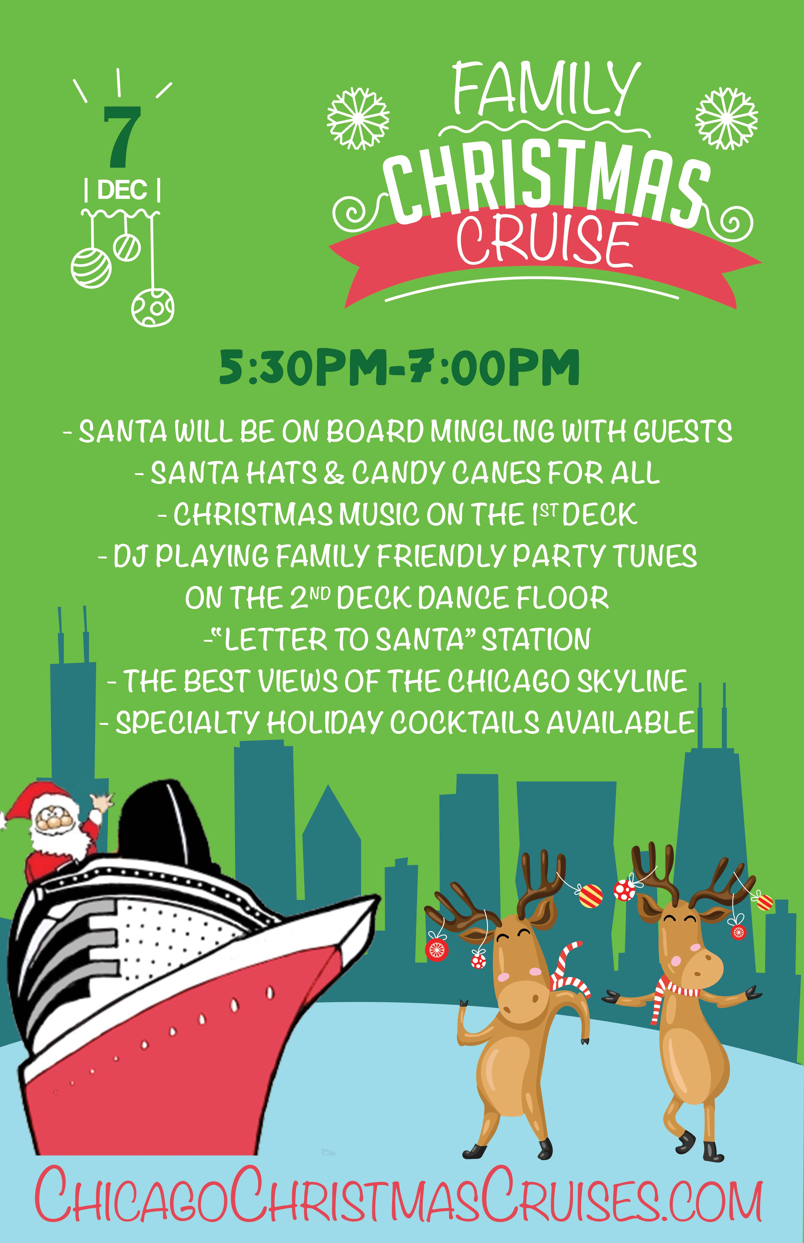 Chicago Family Christmas Cruise Party on Lake Michigan - Santa will be on board, Candy Canes for All, Dance Floor and more!