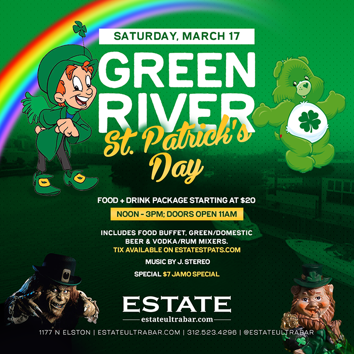 Green River St. Patrick's Day Party - Food + Drink Package includes Food Buffet, Green/Domestic Beer & Vodka/Rum Mixers from 12pm-3pm!