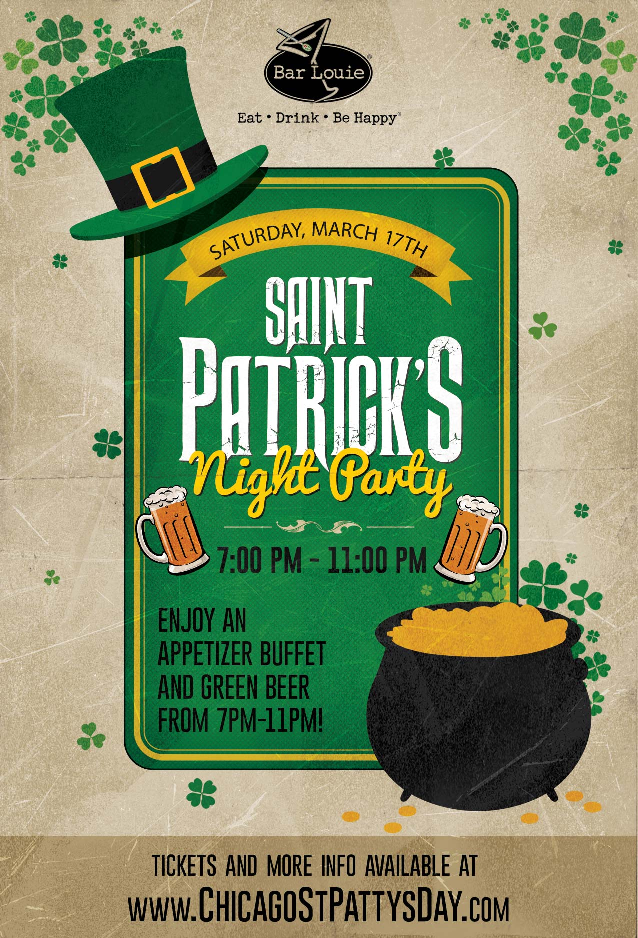 Saint Patrick's Day Night Party at Bar Louie - Tickets include Green Beer from 7pm-11pm and an appetizer buffet from 7pm-9pm!  Join us for games like Connect 4, Twister, other board games and tons more!