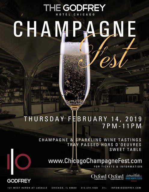 Chicago Champagne Fest at I|O Godfrey Rooftop - Tickets Include Four Hours of Champagne and Wine Tastings, Passed Hors D'oeuvres, Giveaways & More! There will be a variety of champagnes and sparkling wines!