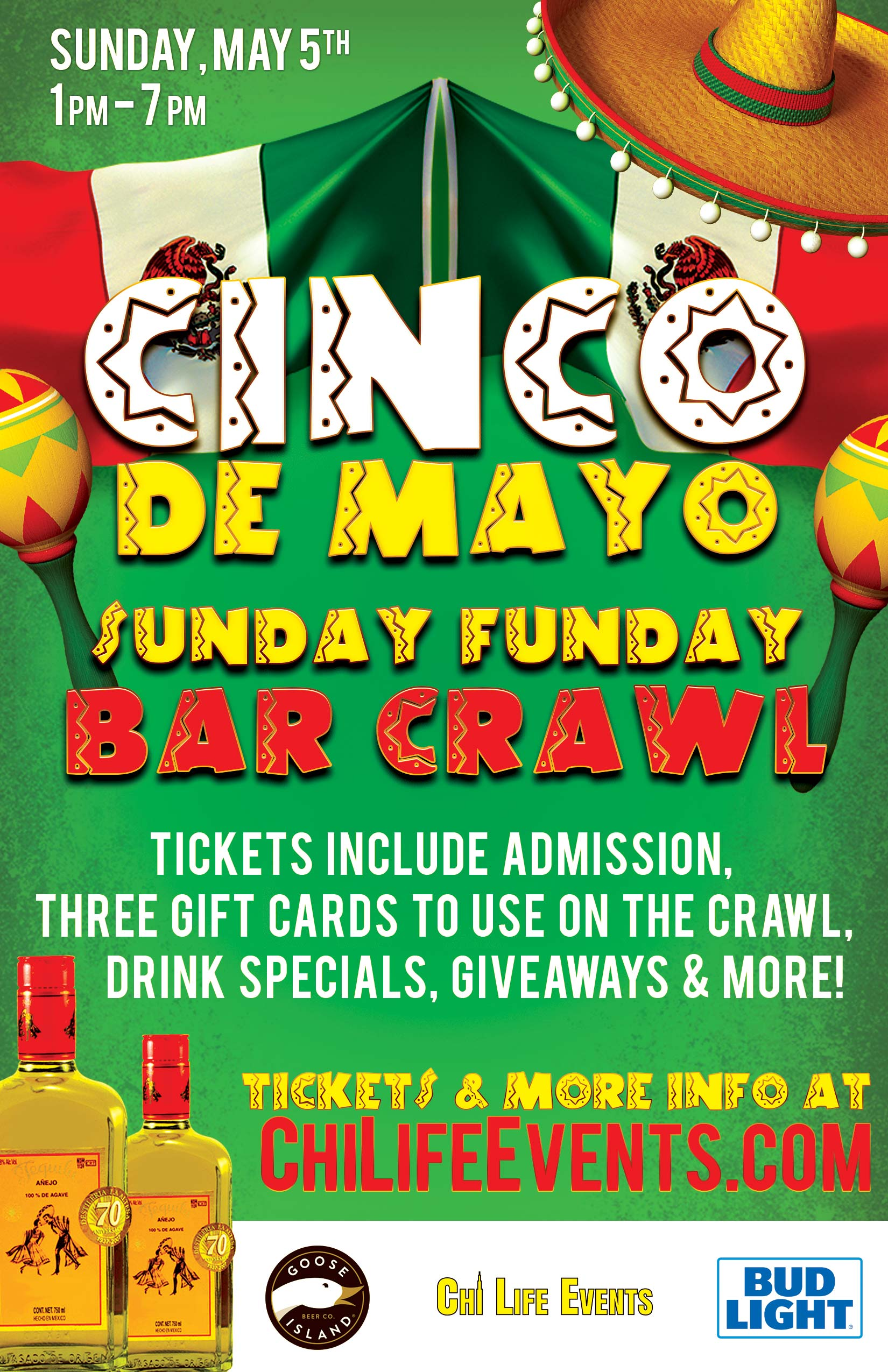 Cinco de Mayo Sunday Funday Bar Crawl Party - Tickets include Admission, Three Gift Cards to Use on the Crawl, Drink Specials, Giveaways & MORE!